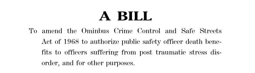 Blue H.E.L.P. Endorses Legislation to Include PTS and Suicide Under the PSOB Program